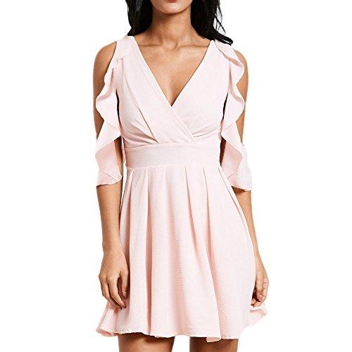 MAYOGO Rosa Sommer Minikleid Damen Ohne ärmel Volant Kleid V-Ausschnitt Schulterfrei Kurz Unifarben Faltenkleid mit Ruffle ()