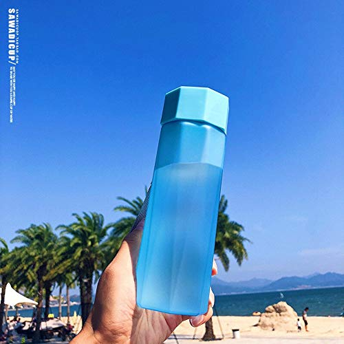 Mode Kreative Bpa-freie 380 ML Kunststoff Student Wasserflasche Sport Outdoor Wasserkocher Tragbare Reise Tee Saft Tasse Mit Seil (Capacity : 380ML, Color : Blue) -