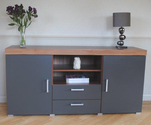 Sydney Graphite Walnut Large Sideboard Tv Cabinet 140cm Unit Living Room Furniture Set