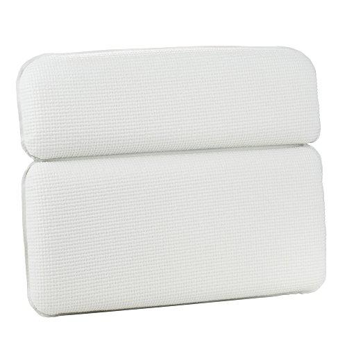 HALOViE Coussin de Bain Imperméable Antidérapant Confortable Oreiller de Baignoire de Spa avec 7 Grandes Ventouses Support Tête Nuque Épaules Blanc