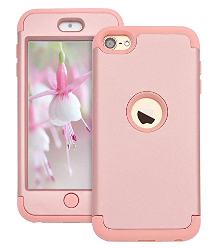 Dailylux iPod Touch 7 Hülle,iPod Touch 5/6 Hülle,3in1 Hybrid Schutzhülle PC + Weiche Silikone Anti-stoß Schutzhülle Tasche Case Cover für Apple iPod Touch 5/6/7th Generation-Roségold Ipod Touch 5 Cover