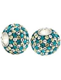 Andante-Stones - original, plata de ley 925 sólida, cuenta de cristal brillante TURQUESA-AMARILLO-BLANCO colgante para cadenas o elemento para pulseras con colgantes + saco de organza