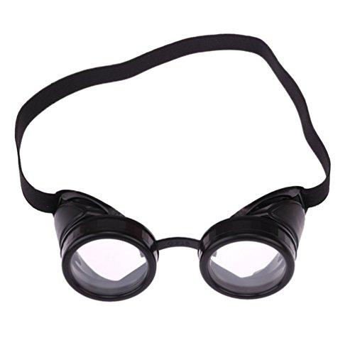 Byqny Runde Steampunk Sonnenbrille Jahrgang Rave Party Schweißen Schutzbrille Cosplay Rustikale Victorian Goth Stil Cyber Brille (Schweißen Linsen)