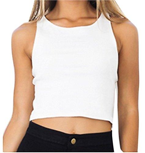 VLUNT Damen Frauen Sommer Shirt Schlinge Weste Ärmellos Bluse White