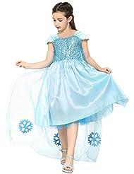 Katara - Robe de princesse - Déguisement princesse pour petite fille - Robe étincelante d'Elsa la Reine des Neiges ou de Cendrillon/bleu ciel avec traîne longue - Tailles aux choix