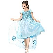 Frozen - Vestido de princesa, traje de disfraz de gala para niñas de 2-3 años, color azul (Katara)