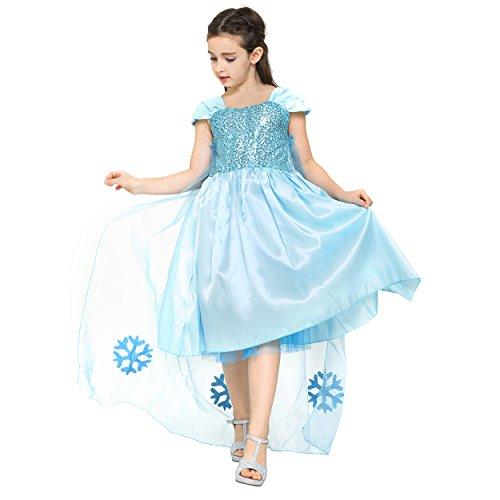 Blaues Prinzessin Mädchen-Kostüm-Kleid für Kinder in Cinderella / Elsa Thema für Karneval, Fasching, Geburtstags-Parties, Gr. 104/110