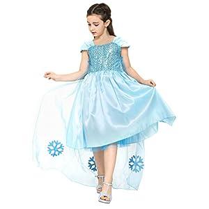 Katara - Vestido de princesa, disfraz de Cenicienta o Elsa, traje elegante de gala para niñas de 6-7 años, color azul (1166)