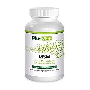 PlusVive – MSM Tabletten – hochdosiert: 1000 mg MSM pro Tablette – mit Bioverf+ügbarkeitsmatrix – 365 vegane Tabletten – Hergestellt in Deutschland
