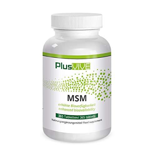Plusvive MSM 365 Kapseln mit Bioverfügbarkeitsmatrix, (1000mg)