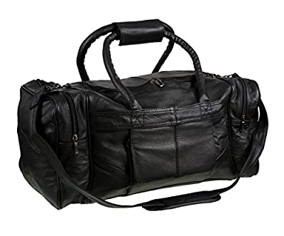 lorenz patch leather genuine real leather with man made trim cowhide holdall duffel bag sports gym bag black case luggage travel strong bag