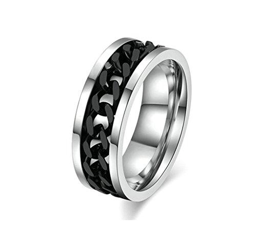 Aooaz Mode Ringe Edelstahl Ring für Männer Silber Schwarz Kette Herren Ring Vintage Hochzeit Ringe Größe 72 (Kostüme Farbe Guard)