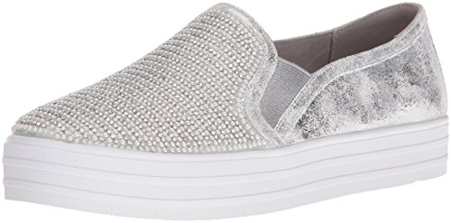 Skechers Damen Double Up-Shiny Dancer Slip On Sneaker, Silber (Silver), 37 EU (Distressed Leder Turnschuhe)