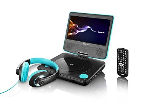 Lenco DVP-754 tragbarer DVD-Spieler (17,5 cm (6,88 Zoll) TFT-Display, USB, Stereo Lautsprecher) inkl. Kopfhörer, Tasche, Fernbedienung lagoon