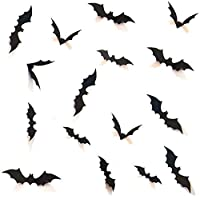 Boolavard DIY Halloween Party Supplies PVC 3D Decorative Scary Bats Wall Decal Wall Sticker, Halloween Eve Decor Home Window Decoration Set, 28pcs, Black