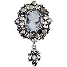 TENDYCOCO Broche de camafeo broches Broche de Regalo de Navidad Crystal para Mujeres niñas (Plata)