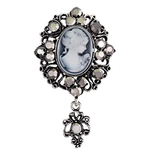TENDYCOCO Brosche Cameo Broschen Kristall Weihnachtsgeschenk Brosche für Frauen Mädchen (Silber) (Cameo-pins Und Broschen)