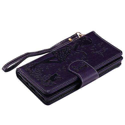 Galaxy Note 8 Hülle , Camiter Rosa Schönheit Mädchen Design Leder pu Magnetverschluss Wallet Case Schutzhülle Standfunktion Handytasche Hülle mit 9 Karteneinschub /Trageschlaufe und Spiegel für Samsun 9card lila