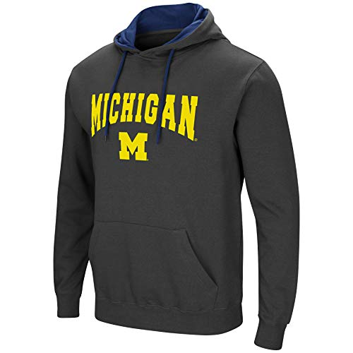 Colosseum Herren NCAA-Scoreboard-Dual Blend-Fleece Kapuzenpullover Sweatshirt mit Tackle Twill Bestickt Teamname und Logo, Anthrazit, Herren, Michigan Wolverines, XX-Large -