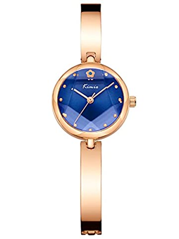 Alienwork Quartz Watch bracelet chain warp Wristwatch elegant stylish Metal blue rose gold YH.K6211S-05