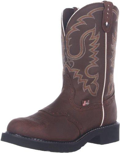 Justin Boots Damen Lederstiefel L9909 Bark Westernreitstiefel Braun, Groesse:37.5 (7.5 US) (Damen Boots Justin)