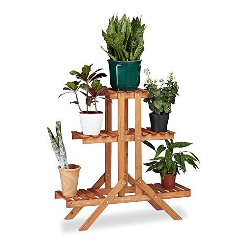 LLYU Escalier floral Creative 3 couches, bois, stand de fleur, intérieur, extérieur (Couleur : Gold red)