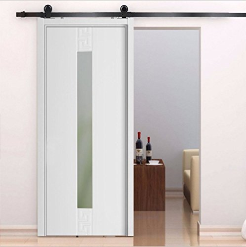 Yosoo kit di porta scorrevole puleggia di sospesa sistema di porta scorrevole set completo per porte interne scorrevoli divisori fienile armadio hardware in acciaio inossidabile, nero