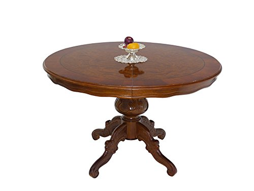 Tisch Esstisch Esszimmertisch antiker Stil Nussbaum D: 120 cm ausziehbar (6499)