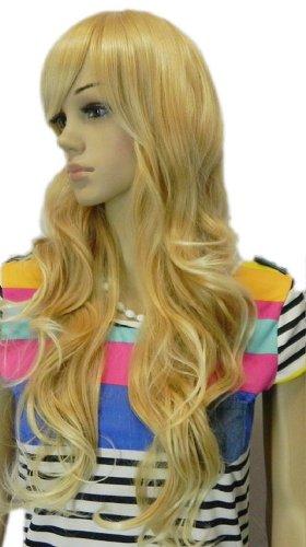 Qiyun Femme Longue Ondule Resistant a la Chaleur Stylish Jaune Blond Natural Looking Resistant a la Chaleur Fibre Synthetique Kanekalon Fibre Complete Cheveux Cosplay Anime Costume Perruque