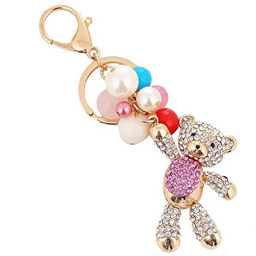 Nette Bär Schlüsselbund Anhänger Strass Heavy Duty Keychain Charme Gepäck Ornamente für Geschenk der Tochter lila 14.5cm+4.5 * 6.5cm