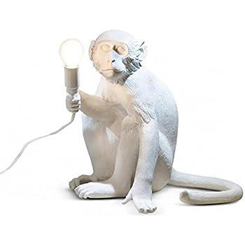 seletti 14882 monkey lampe singe assis en r sine hauteur 32 cm blanc 34 x 30 cm 40 4 x 37 x. Black Bedroom Furniture Sets. Home Design Ideas