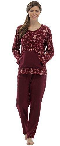 Pour Femme Doux Micro polaire Imprimé Papillon Pyjama / jeu de PJ ~ 8 UK - 18 Bordeaux