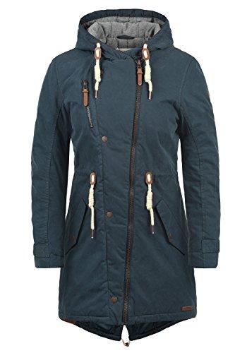 DESIRES Lew Damen Parka lange Jacke Winter-Mantel mit Kapuze aus hochwertiger Baumwollmischung, Größe:M, Farbe:Insignia Blue (1991)