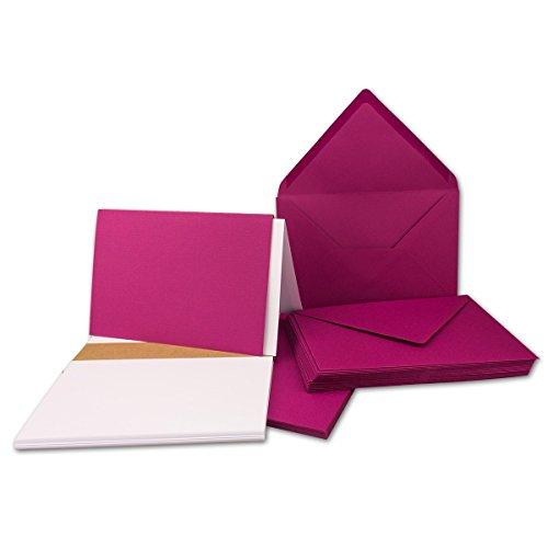 25x - DIN B6 Faltkarten-Set in Amarena | mit Umschlägen & Einlegeblätter - Ideal für...