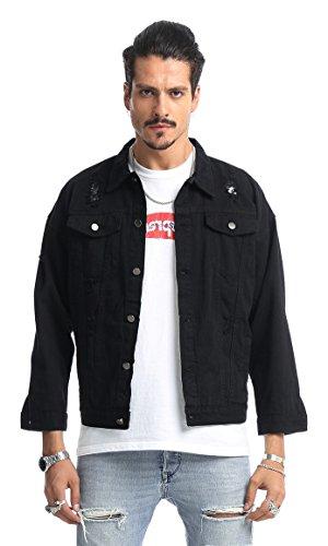 Pizoff unisex Hip Hop Jeansjacke aus Denim in auffälliger Distressed-Optik verwaschenem mit Bunt Hund Druckmuster Einsatz Rückseite (Schwarze Tee T-shirt Hund Neue)