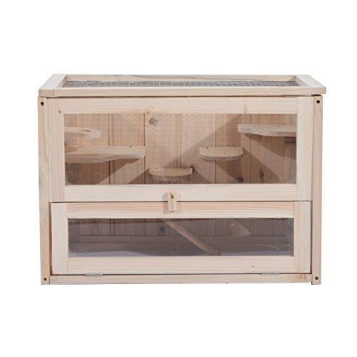 Pawhut gabbia per criceti e piccoli roditori in legno di abete 60x35x42cm