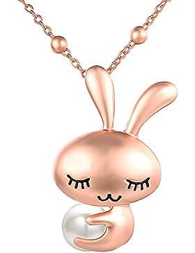 Yoursfs Süßwasser Perle Halskette mit Schlafende Hasen Kinder Anhänger Halskette & 18K Rosegold vergoldet