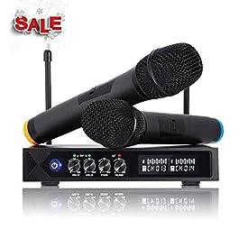 ROXTAK Microfono Karaoke Professionale, Senza Fili Bluetooth 4.1con 2 UHF Microfoni per Karaoke,Festa,Conferenza…
