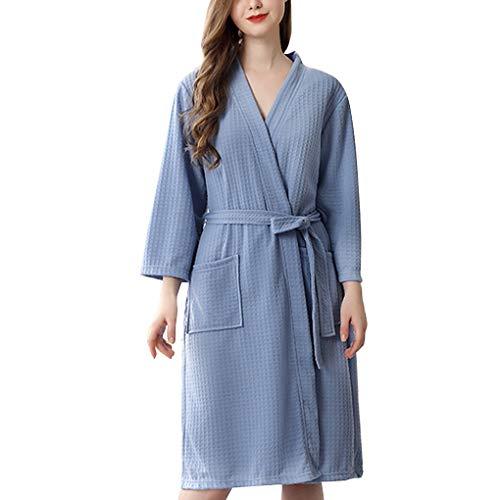 Minzhi Frauen Wasseraufnahme Bademantel Feste Waffel Bademantel Startseite Kleid Nightgown Spa Home-Kleid Nightgown (Knie-länge Waffel)