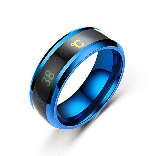 KBGE Wetterstation Funk Mit Außensensor Raumthermometer Thermometer Ring Juwel, Farbwechsel Zeigt Liebe Temperaturmessung Magische Edelstahl Ehe (3)