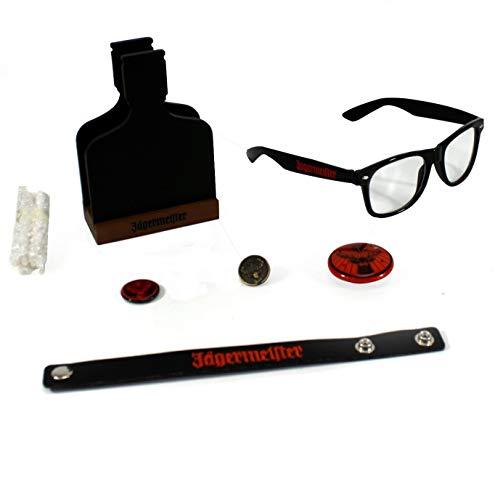 Jägermeister Fanpaket: Brille Blink-Button Armband 7tlg. Mini Kreidetafel inkl. Kreide ~mn 1100 55