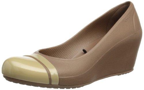 Crocs Cap Toe Wedge 12299-81D-500, Damen Pumps, Braun (Bronze/Gold), 41-42 EU / 10 US (Toe Cap Crocs)