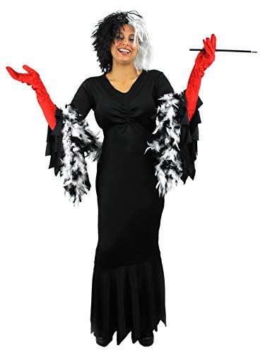 Für Baroness Erwachsenen Kostüm - Zeichentrick KOSTÜM VERKLEIDUNG =BÖSE HUNDELADY DE VIL- IN 2 VERSCHIEDENEN VARIATIONEN = VARIATION-1- Kleid IN -XXXLarge