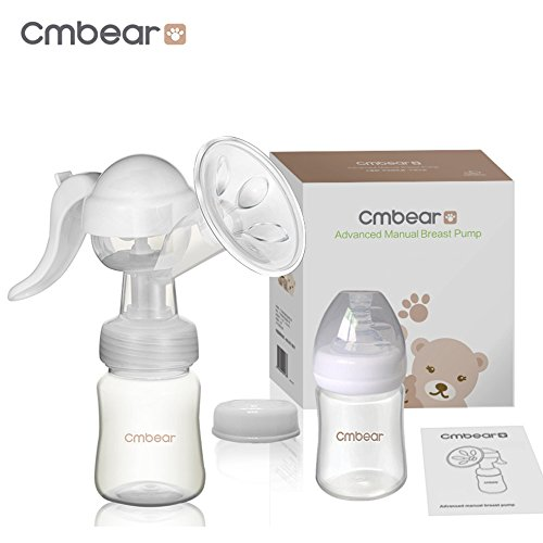 Cmbear Extractor de leche manual Cómodo BPA-liberan Ajustable de 3 Grados Bomba de pecho con 2 botellas y un chupete del silicón.