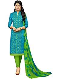 Rajnandini Women's Chanderi Cotton Embroidered Dress Material(JOPLGF18014_Blue_Free Size)