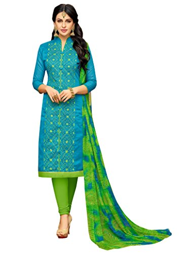 Rajnandini Women\'s Chanderi Cotton Embroidered Dress Material(JOPLGF18014_Blue_Free Size)
