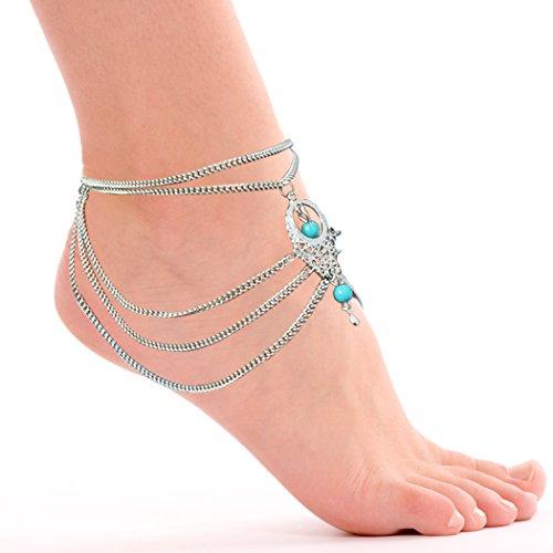 Jane Stone Damen Fußschmuck 1 Stück bohemian Boho Ethno Stil Barfuss Sandalen Fußkettchen Fusskette (Sandalen Zehenring Kleid)