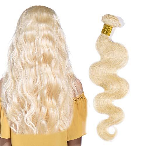 60cm extension capelli veri matassa tessitura biondi mossi #613 bleach blonde 100g/pack 100% remy human hair virgin