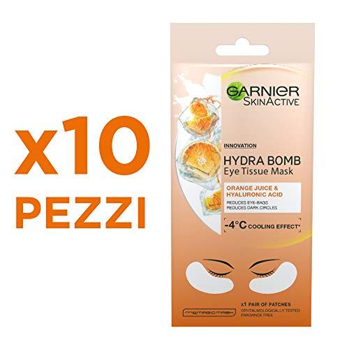 Garnier Skincare Maschera Occhi Anti Fatica con Succo d'Arancia e Acido Ialuronico, 10 Confezioni