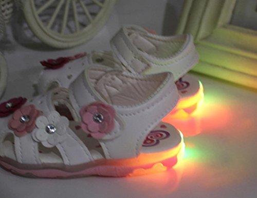 Fulltime®Chaussures enfant Flower Girls Sandales Lighted Soft-Soled Princesse bébé Blanc